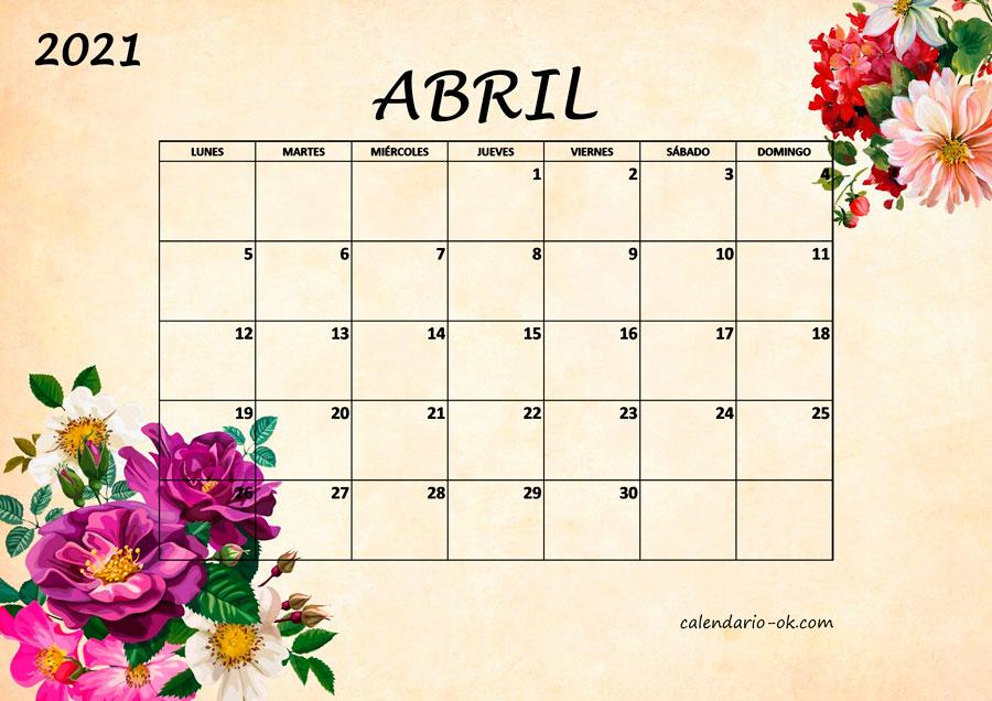 Plantilla Calendario U3010ABRIL 2021 U3011 Para IMPRIMIR PDF