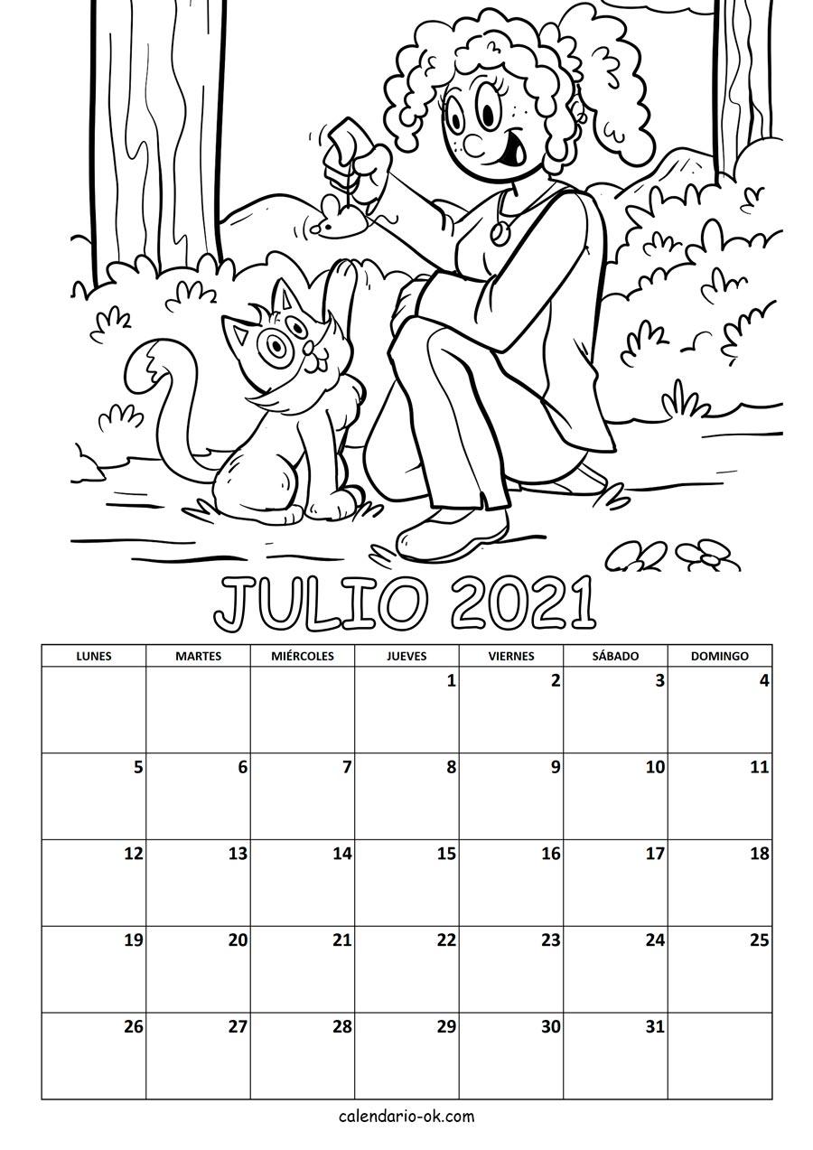 Plantilla Calendario 【JULIO 2021】 para IMPRIMIR PDF