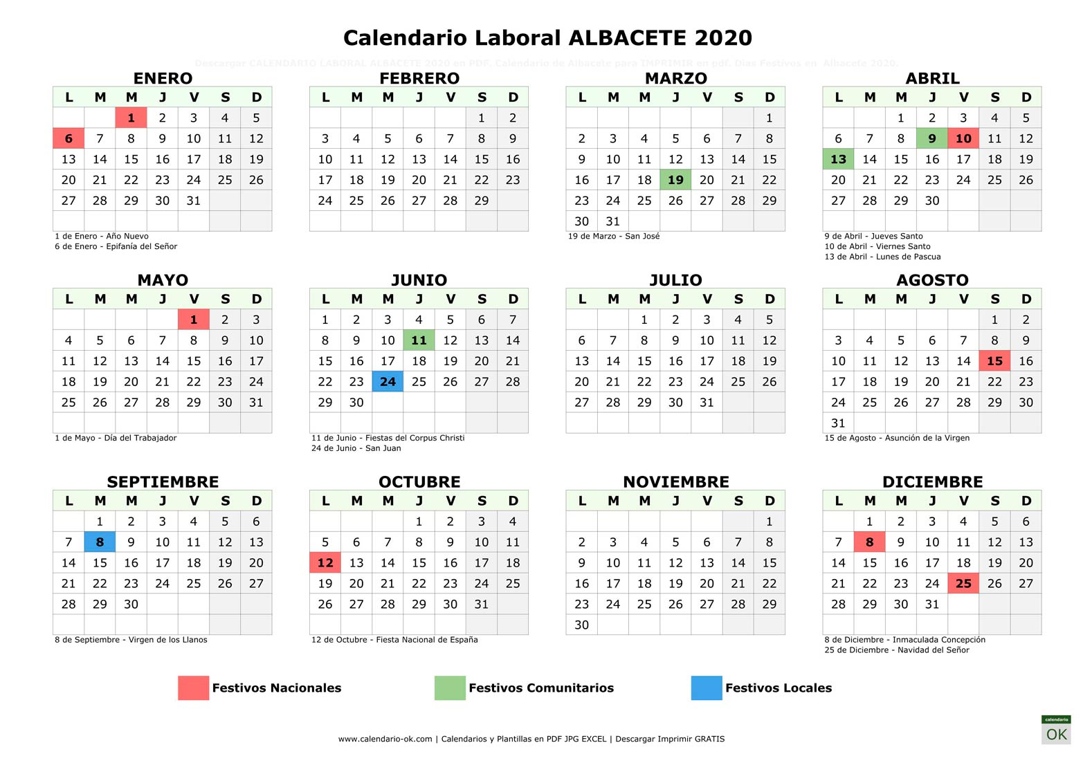 Calendario Laboral ALBACETE 2020 horizontal