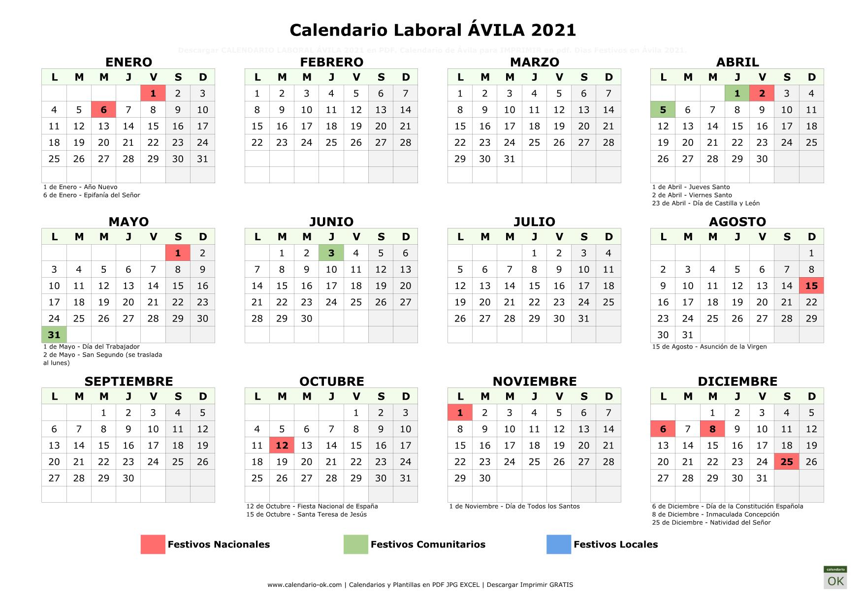 Calendario Laboral Álava 2021 horizontal