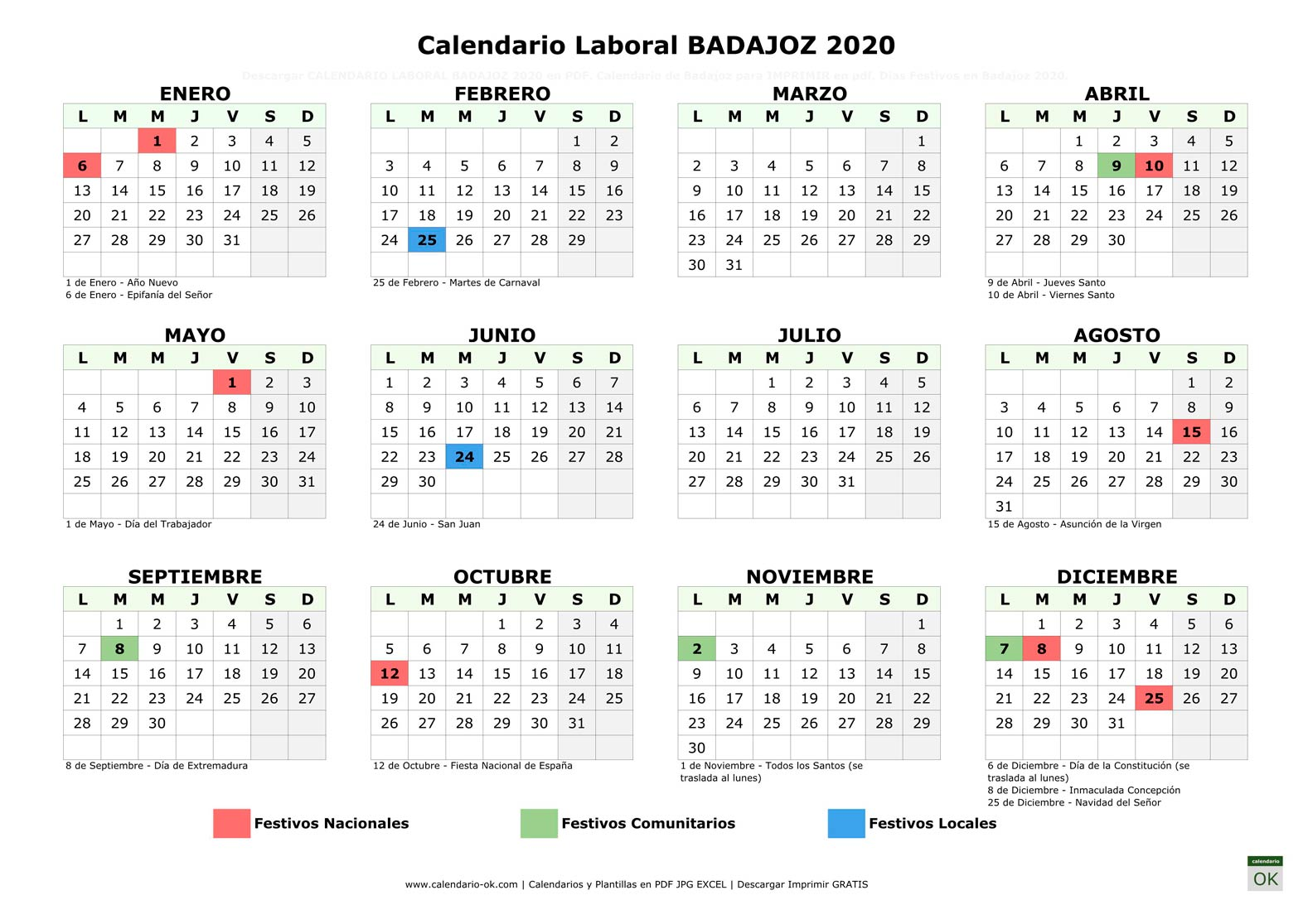 Calendario Laboral BADAJOZ 2020 horizontal