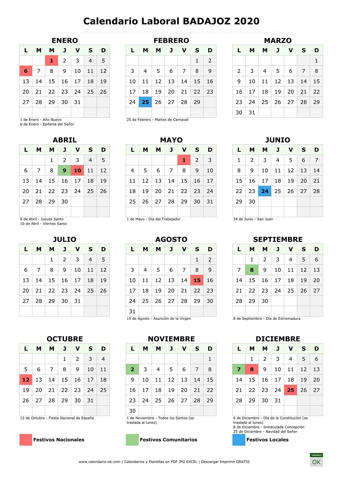 Calendario Laboral BADAJOZ 2020