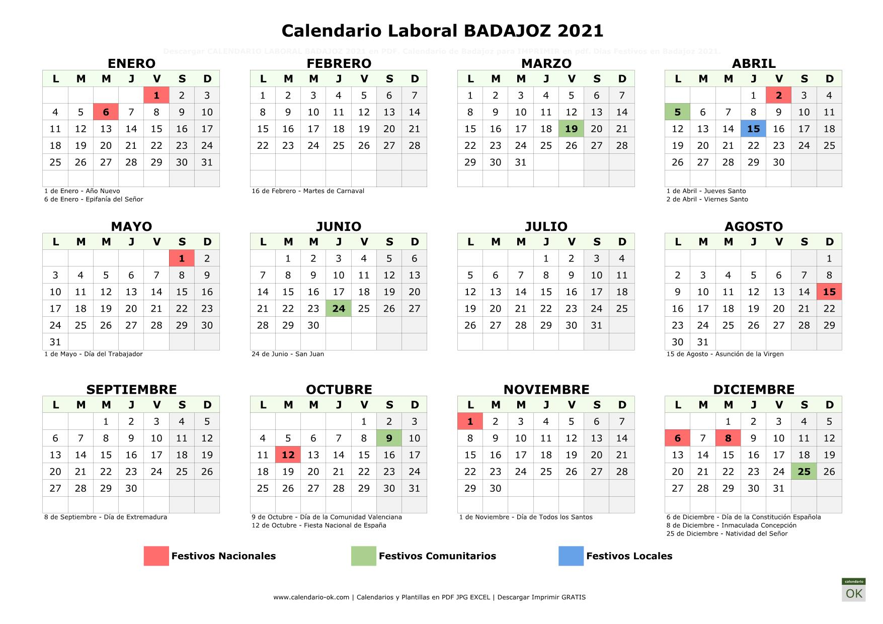 Calendario Laboral Badajoz 2021 horizontal