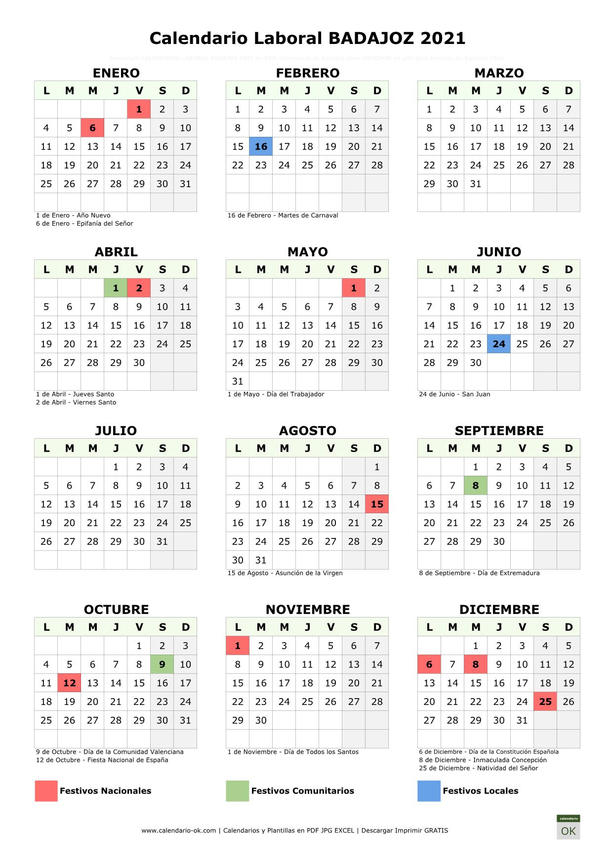 Calendario Laboral Badajoz 2021 vertical