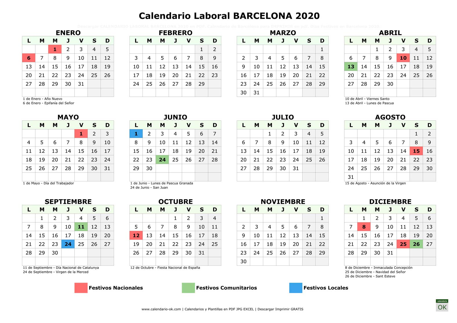 Calendario Laboral BARCELONA 2020 horizontal
