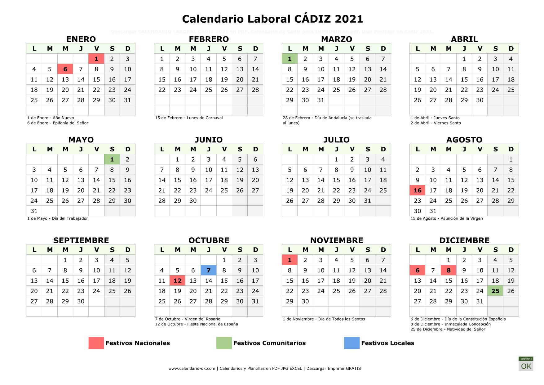 Calendario Laboral Cádiz 2021 horizontal