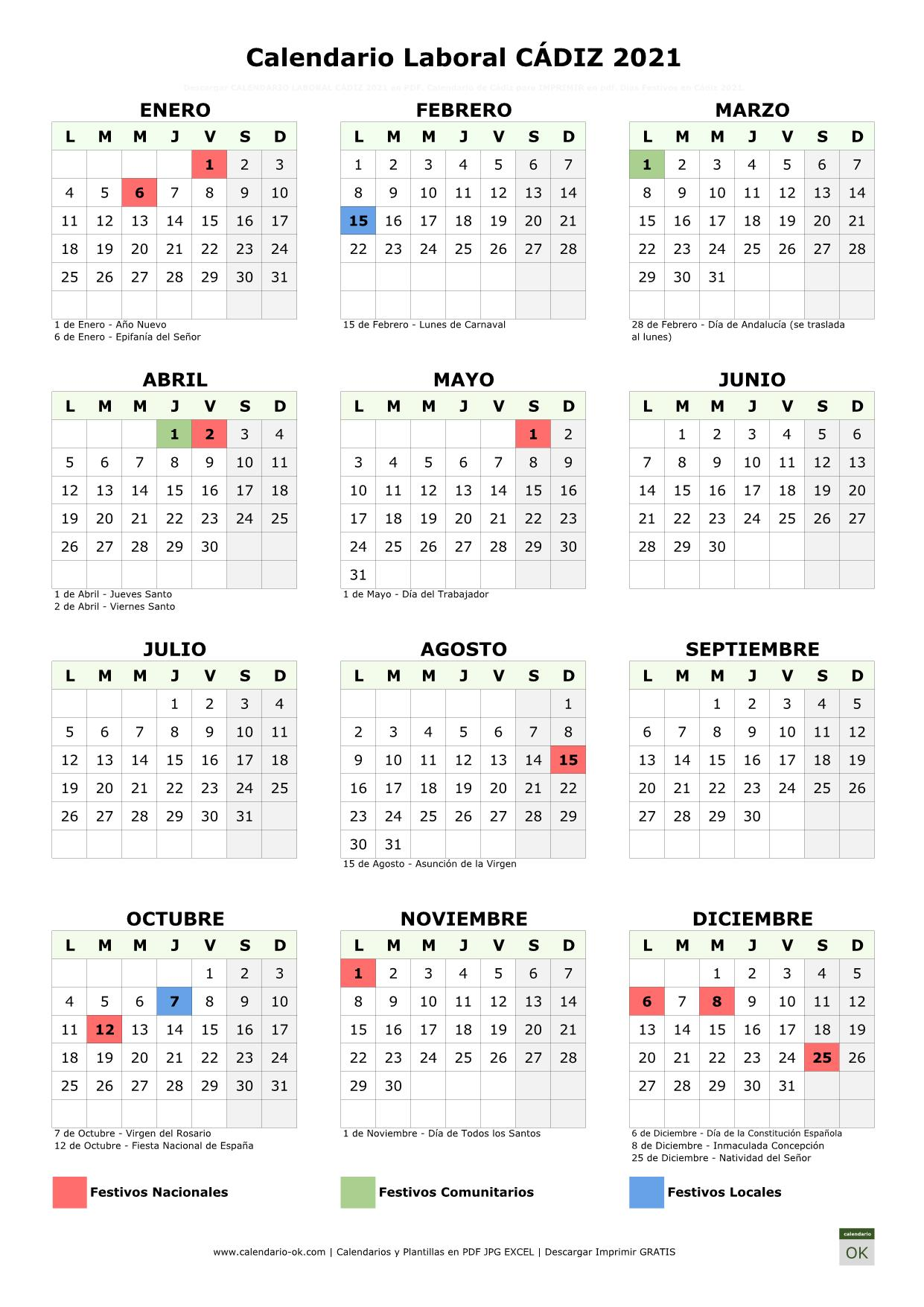 Calendario Laboral Cádiz 2021