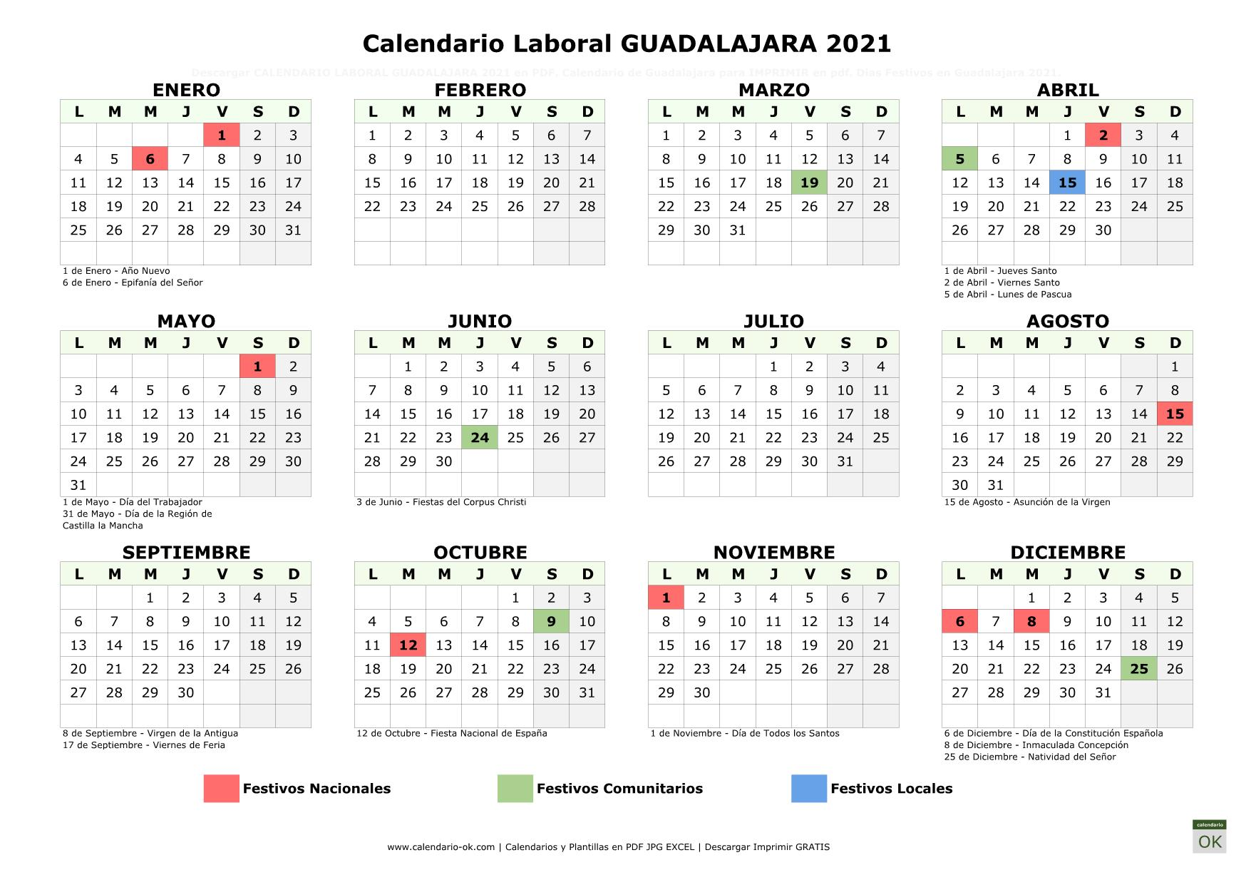 Calendario Laboral Guadalajara 2021 horizontal