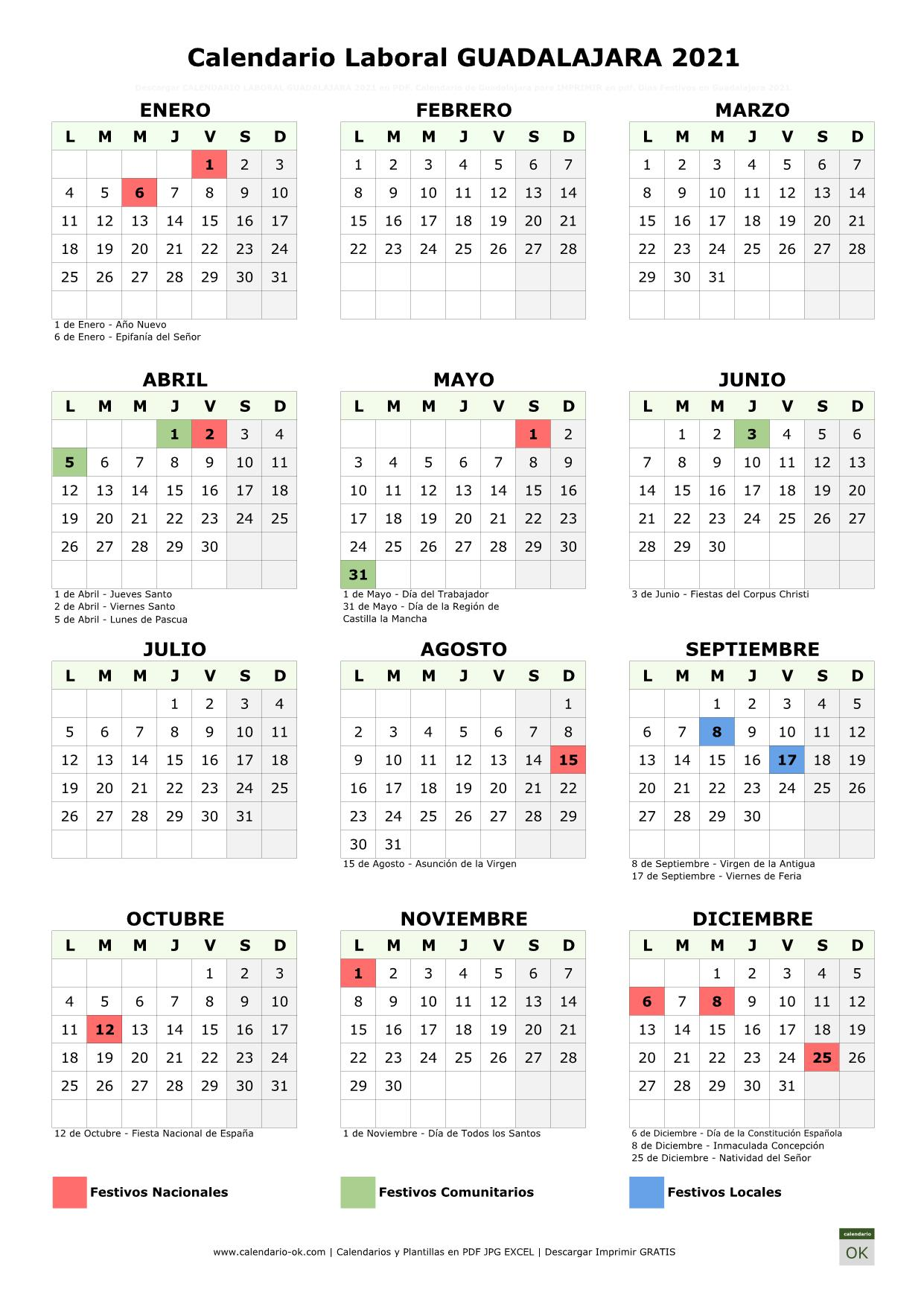 Calendario Laboral Guadalajara 2021