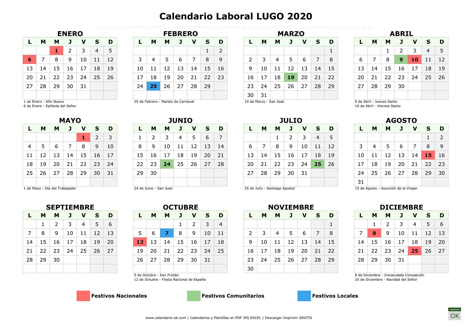 Calendario Laboral LUGO 2020 horizontal