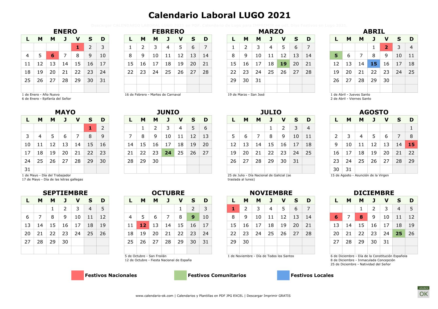 Calendario Laboral Lugo 2021 horizontal