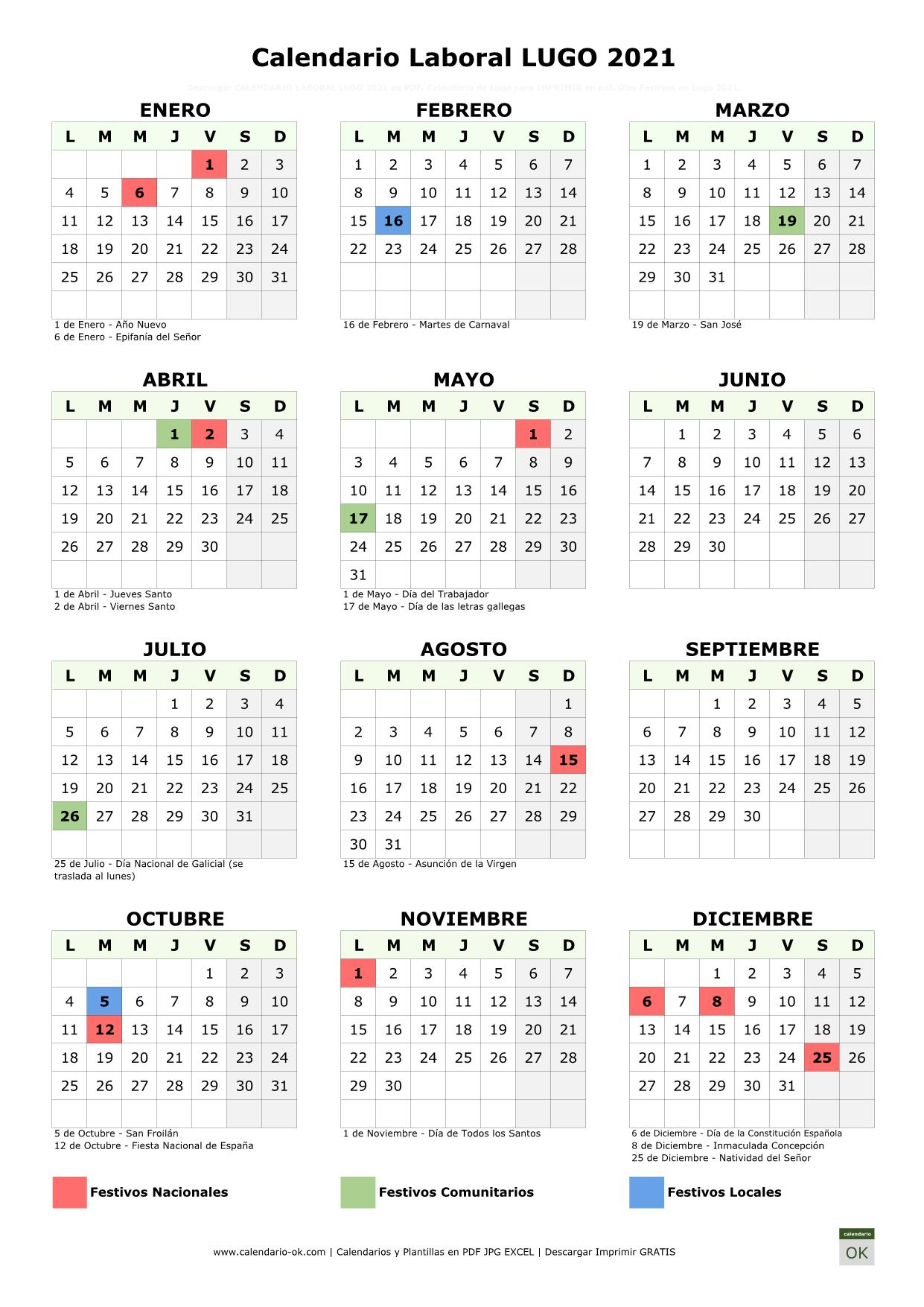 Calendario Laboral Lugo 2021 vertical