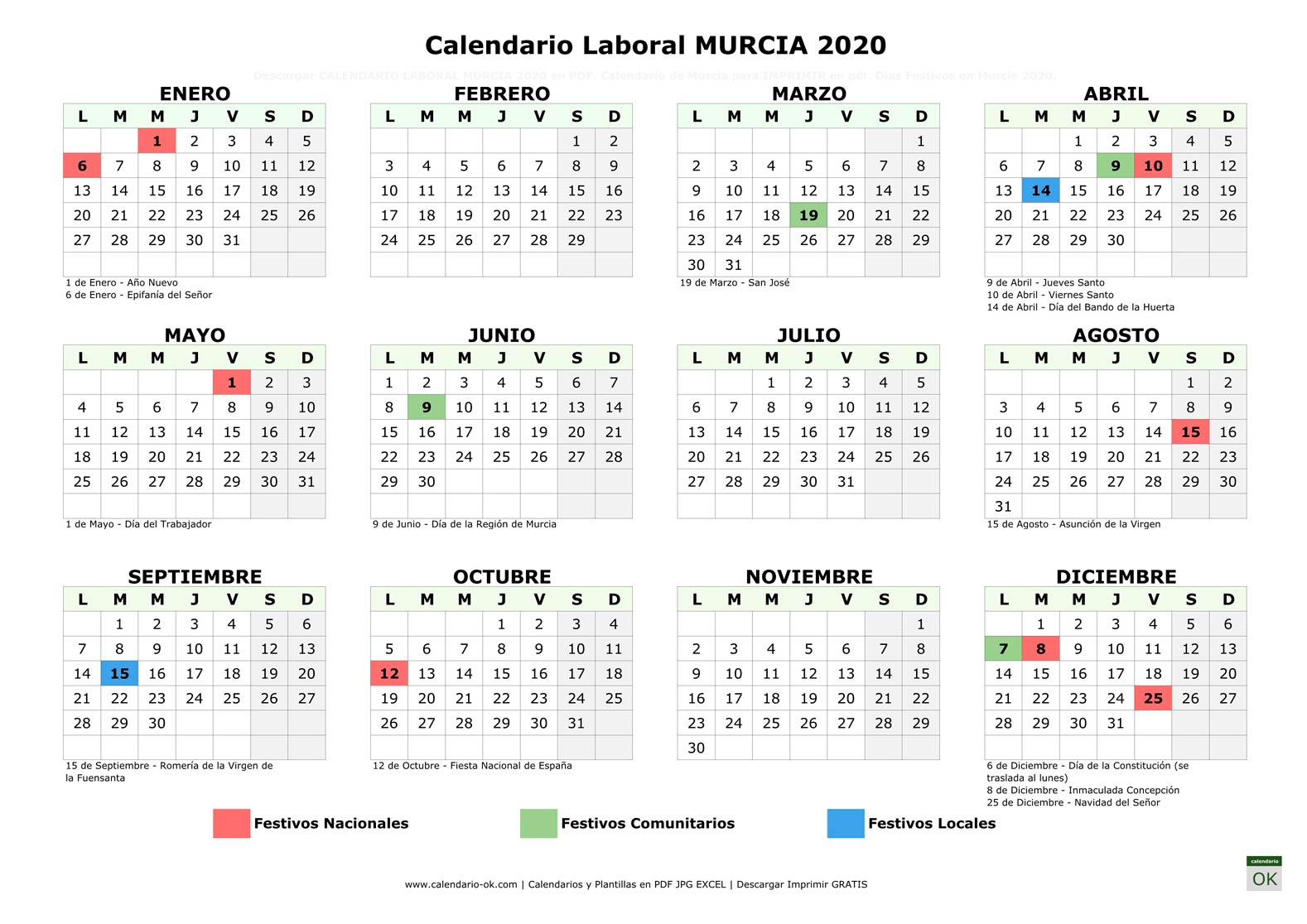 Calendario Laboral MURCIA 2020 horizontal
