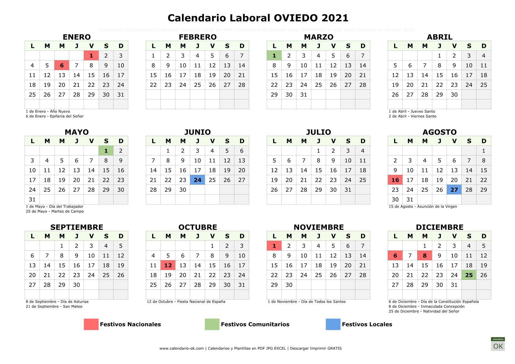 Calendario Laboral Oviedo 2021 horizontal