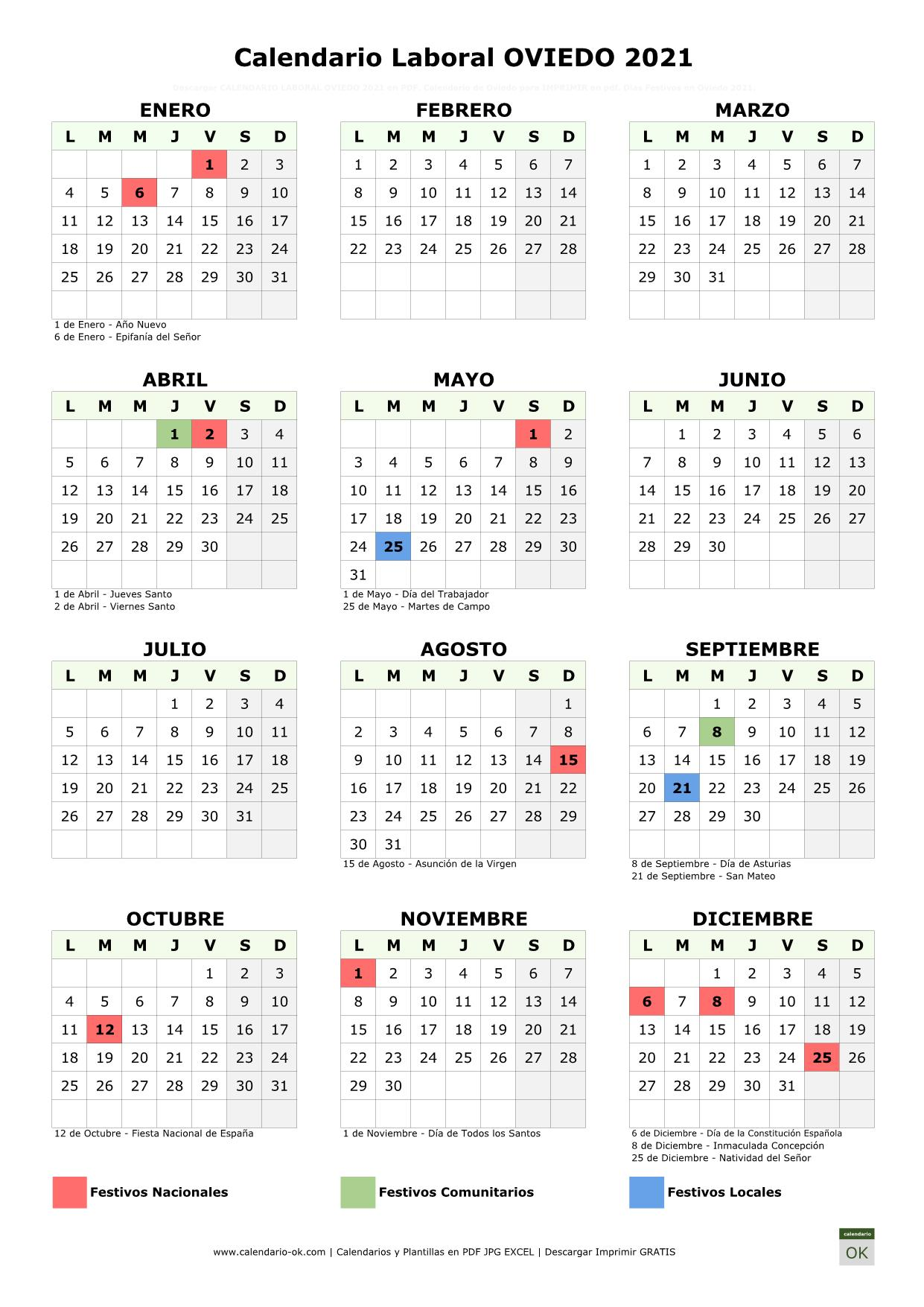 Calendario Laboral Oviedo 2021 vertical
