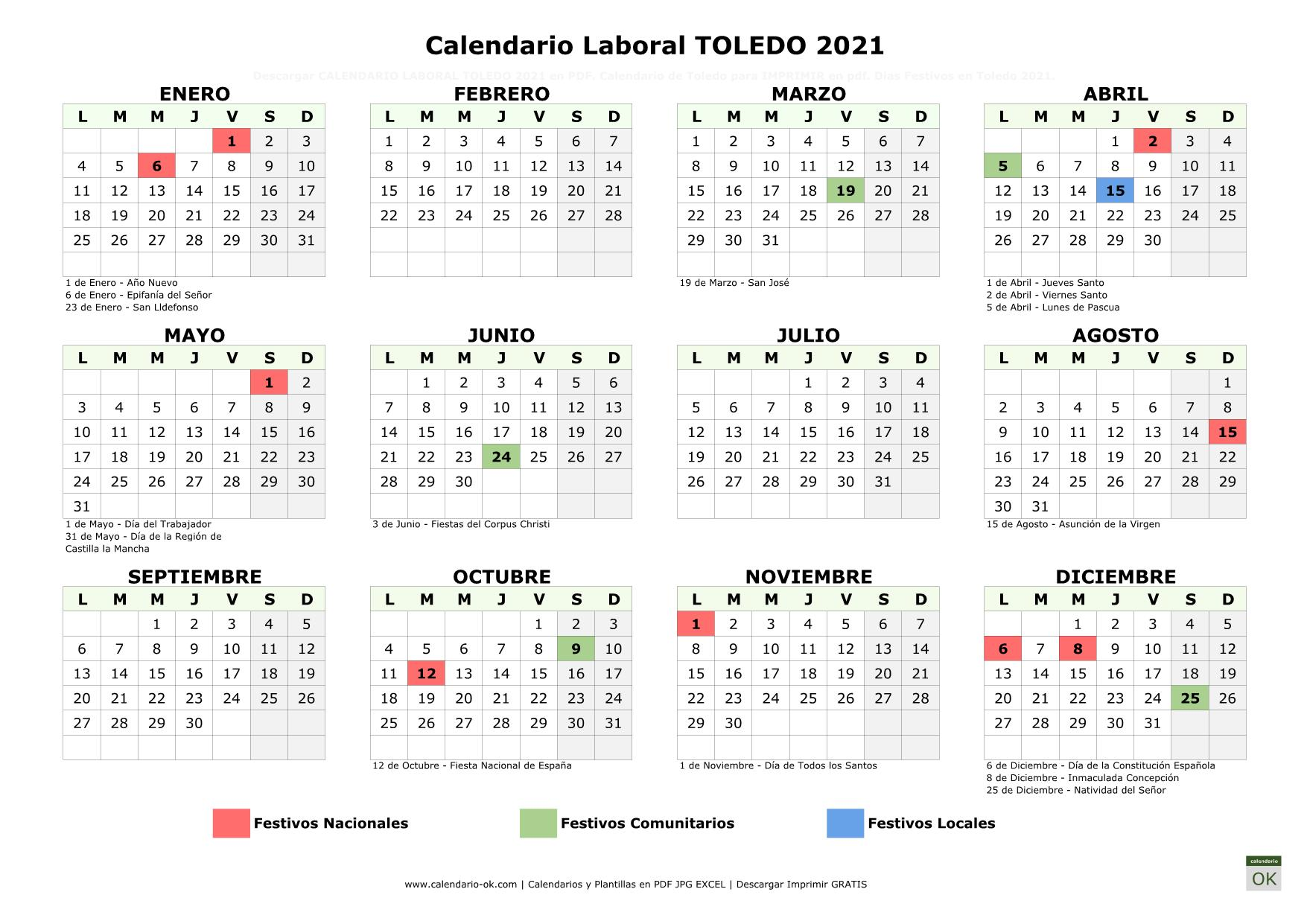 Calendario Laboral Toledo 2021 horizontal