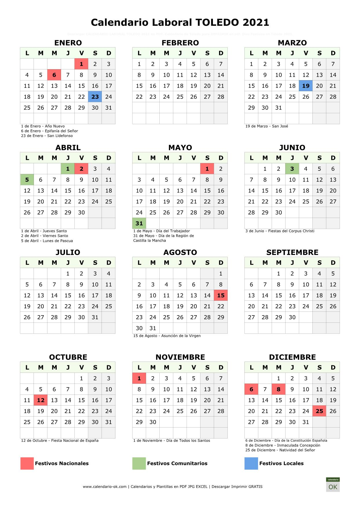 Calendario Laboral Toledo 2021 vertical