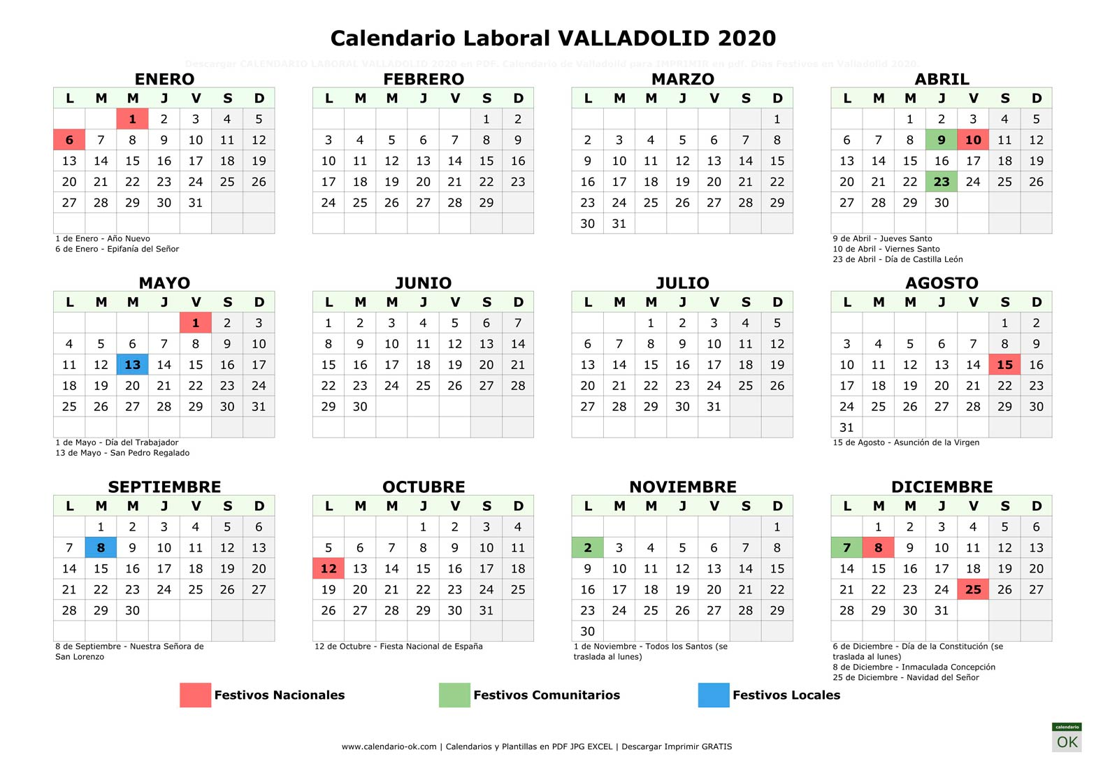 Calendario Laboral VALLADOLID 2020 horizontal
