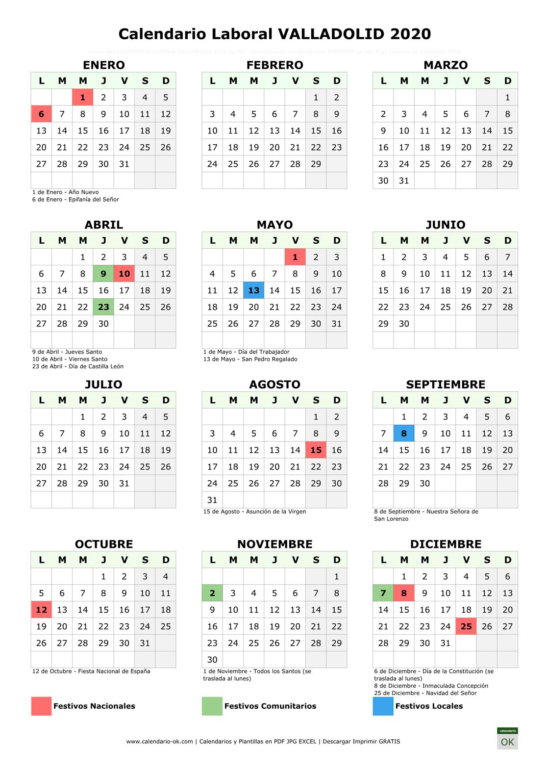 Calendario Laboral VALLADOLID 2020